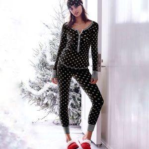 Victoria's Secret Fireside Pajama Black Thermal XS